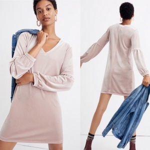 MADEWELL Velvet Balloon Sleeve Dress XL Blush New